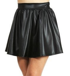 Black Faux Leather Skater Skirt