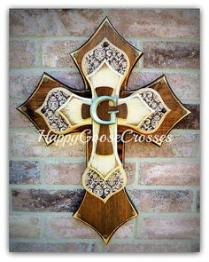 Medium Wall CROSS - Dark Stain with Brown Damask and Antiqued Beige and topped with an initial - just beautiful!! {leave initial choice in notes at checkout}   * measures 23 x 17 * light protective clear coat * comes ready to hang    ~~~~~~~~~~Please note:~~~~~~~~~~~~~~~~~~~~~~~~~~~~~~ ~~~~~~~~~~~~~~~~~~~~~~~~~~~~~~~~~~~~~~~~~~~~~~~~~~~~~ Crosses are not created until payment has been received. Orders may take up to 4 weeks to ship once you have paid, depending on our workload. Please send…