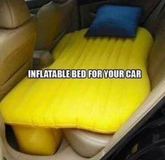 Inflatable bed for backseat. Cool for kids.