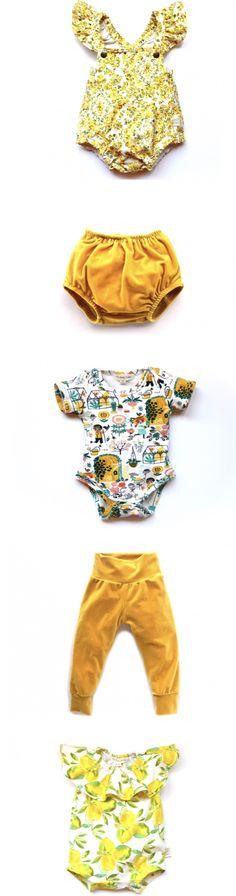 Mustard Yellow! Fall Colors, Baby Fashion, Bloomers, Onesies, Leggings, Rompers, Handmade, Yellow Gold, Velvet, Organic, Baby Girl https://presentbaby.com