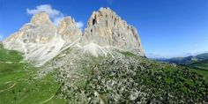 "The città dei sassi which is located on Sellajoch under the famous Sassolungo is a ""city"" with a lot of stones of . Stone City, Bookmark Printing, 12 Image, Bus Stop, Flora And Fauna, Hiking Trails, Geology, Habitats, Paths"