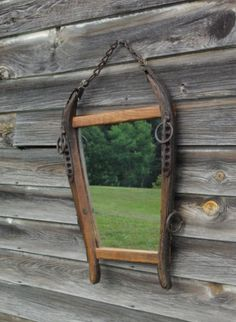 Rustic horse hames mirror by wooddesignsby on Etsy, $115.00