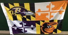 Baltimore Ravens Baltimore Orioles Maryland Flag 3ft x 5ft
