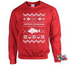 Funny Christmas Sweater Merry Fishmas Fishing Sweater Christmas Sweatshirt…