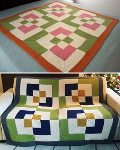 Free Knitting Pattern for Bento Box Blanket - Modular garter stitch afghan based on the Bento Box quilt block. Includes a coloring page and free video tutorial at the designer's website. Designed by Staci Perry of Very Pink Knits. Pictured projects by the designer and SRWhitcombe