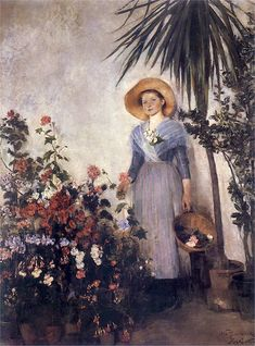 In the conservatory, Olga Boznanska. Polish (1865 - 1940)