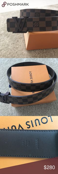 Louis Vuitton LV Initials Damier Ebene Belt 100% Authenticity Guaranteed, Never Worn, Comes with Box (a little worn on the outside) and everything seen in these photos, Belt is Brand New, any other questions feel free to ask! Louis Vuitton Accessories Belts