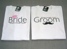 Groom Mustache and Bride Lips by TheKnottedPalm. Wedding Sash, Wedding Prep, Fall Wedding, Bridal Party Shirts, Gifts For Wedding Party, Couple Shirts, Family Shirts, Top Wedding Trends, Wedding Ideas