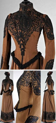 Walking suit, Redfern Paris, ca. 1889. Brown felted wool with black soutache braid and astrakhan trim. Fitted, boned bodice with side buttoning; skirt with fullness at the back; matching bonnet by Louise  Co of Regent Street, London. Kerry Taylor Auctions