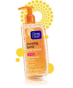 MORNING BURST® Facial Cleanser  (like the colors, clean font, well spaced and limited information on the front.  Like the contrast of the blue with the orange. Looks clean to me!)