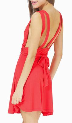 Red Sleeveless Strap Backless Pleated Dress