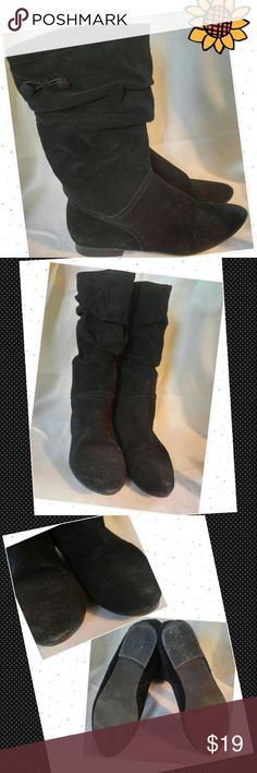 Bass MELINA Leather Suede SLOUCH Mid Calf Boots Bass Melina  Black Mid Calf Suede  Slouch Style Fashion? Size 9 Lots of life left Bass Shoes Ankle Boots & Booties