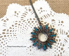 Sunburst circle pendant necklace at #VintageVenturesShop #Etsy to buy click image #Turquoise #TurquoiseNecklace #TurquoiseJewelry #SouthwesternJewelry #BohoNecklace #HippieNecklace #TurquoisePendant #Sixties #Seventies #RetroJewelry #GiftIdea