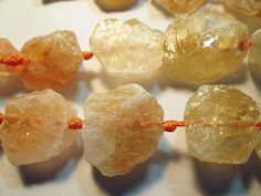 Citrine Beads Chunky Citrine Nugget Yellow White by FLcowgirls
