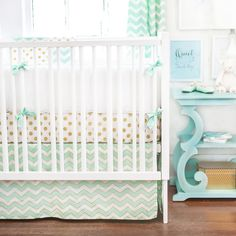Gold and Green Baby Bedding, Baby Bedding Gold, Gold Nursery Bedding, Gold and Green Crib Bedding