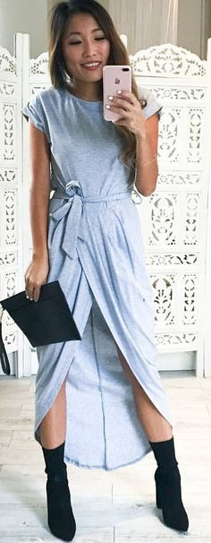 #summer #outfits Blue Wrap Maxi Dress + Black Booties 🙌✨