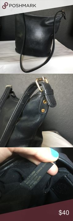 Vintage Black Leather Bucket Bag Beautiful vintage Medallion cowhide leather in like new condition! Great buckets shape, comfortable adjustable strap, clean interior and exterior. Will match anything! If you love the classic look of vintage coach bags you will love this affordable steal! Please refer to photos for condition, all offers welcome Vintage Bags Shoulder Bags