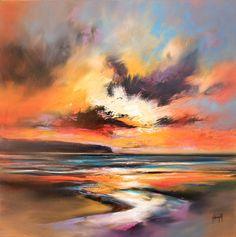 Las pinturas de scott Naismith se caracterizan por una aplicación vigorosa del color. Sus vibrantes y atmosféricos óleos representan las rápidas variaciones de luz que se producen en la costa oeste de Escocia, su tierra natal.