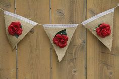 Red Rose Burlap Bunting Banner for Weddings, Birthdays, or Engagement Photos $32.95