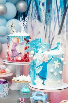 Take a look at this fabulous Frozen 2 birthday party! The cakes is incredible!  See more party ideas and share yours at CatchMyParty.com #catchmyparty #partyideas #frozen #frozen2 #frozenparty #frozen2party #princessparty #girlbirthdayparty