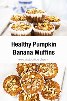 The healthy pumpkin banana muffins are naturally sweet and kids love them! They make an easy, healthy grab n go breakfast, snack, or can be popped into lunchboxes.