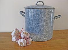 enamel storage bin French graniteware enamel storage by Histoires, $65.00 #french enamelware #histoires #etsy