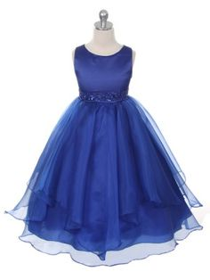 Royal Blue Asymmetric Ruffles Satin/Organza Flower Girl Dress (Sizes Infant-12 in 9 Colors)