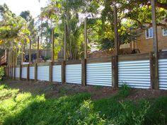 Corrugated iron & wood retaining wall