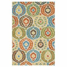 """Bring wayfaring charm to your living room or den with this hand-tufted wool rug, showcasing a multicolor ogee motif.   Product: RugConstruction Material: 100% WoolColor: Ivory and multiFeatures:  Made in IndiaHand-tuftedTextured design Pile Height: 0.25"""" Note: Please be aware that actual colors may vary from those shown on your screen. Accent rugs may also not show the entire pattern that the corresponding area rugs have. Cleaning and Care:  Blot spills. Vacuum without a beater bar. Expect…"""