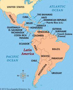 Map of Latin America, Central America: Cuba, Costa Rica, Dominican Republic, Mexico, Guatemala, Belize, Panama,  Haiti, Jamaica, El Salvador, Honduras, Nicaragua. South America: Colombia, Brazil, Venezuela, Peru, Argentina, Uruguay, Paraguay, French Guiana, Bolivia, Ecuador, Suriname, Guyana.