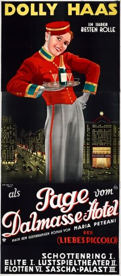 Page from the Dalmasse Hotel, 1934 - large original vintage three sheet movie poster by Anton Ziegler for the 1934 Vienna Austria premiere of the 1933 German comedy film, The Page from the Dalmasse Hotel (Der Page vom Dalmasse Hotel), directed by Victor Janson and starring Dolly Haas, Harry Liedtke and Hans Junkermann listed on AntikBar.co.uk