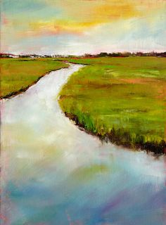 Chartreuse Marsh Landscape Art Print