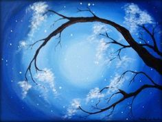Acrylic Paintings On Canvas Trees | ... acrylic flowering tree painting on canvas panel (hard, flat canvas