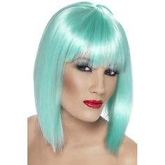 Aqua Neon Glam Adult Wig - This beautiful wig is for the perfect mermaid! Aqua Neon Glam Adult Wig includes a beautiful short neon aqua wig with bangs. Glamour Party, Fancy Dress Wigs, Ladies Fancy Dress, Bob Lung, Blunt Fringe, Halloween Wigs, Adult Halloween, Fancy Dress Accessories, Fringe Fashion
