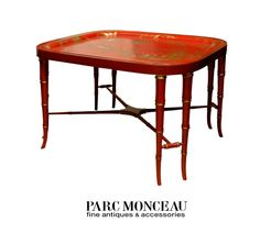 19TH C. Red Chinoiserie Tray Table Parc Monceau Antiques, Ltd.
