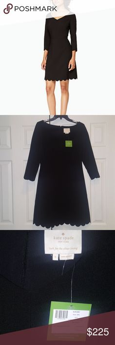 💓SALE💓🆕KATE SPADE SCALLOP HEM DRESS KATE SPADE NEW WITH TAGS SIZE 6 ,COLOR BLACK SCALLOPED HEM CREPE DRESS 80% POLYESTER,15% RAYON,5% SPANDEX A-LINE FIT, 4/4 SLEEVE CENTERBACK INVISIBLE ZIP CLOSURE WIDE V-NECK SCALLOPED HEM ALONG BOTTOM AS WELL AS THE SLEEVES 💓BEAUTIFUL GO-TO BLACK DRESS💓 SELLING @KATE SPADE WEBSITE $245 *NO TRADES NO RETURNS* kate spade Dresses