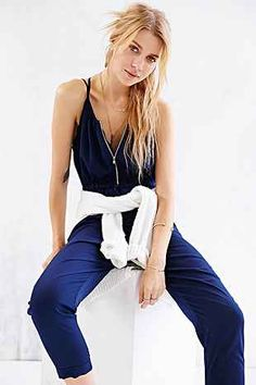 Silence + Noise Silky Zip-Front Jumpsuit