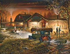 Morning Warmup by Terry Redlin A master at light and shadow, makes me wish I was enjoying a fall evening like this depicts.