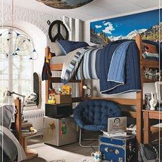 guy dorm room decorating idea.
