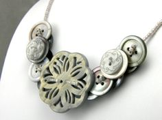 Mother of Pearl layered button necklace! Charcoal Grey.