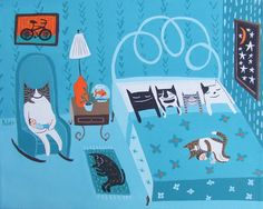 Seven Cat Art Print - Sleeping Together in Bed Artwork - Whimsical Rescue Cats Blue Bedroom Wall Decor Folk Art