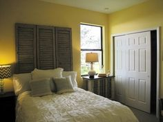 page with tips for making this headboard of vintage shutters