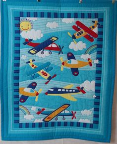 sports quilt patterns for boys | Boys Airoplane pattern Baby Quilt with matching pillowcase
