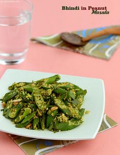 Bhindi in Peanut Masala, Roasted and coarsely crushed peanuts transforms the humble bhindi into a connoisseur's delight. It imparts a crunchy texture and nutty flavour, which is sure to be loved by young and old alike.