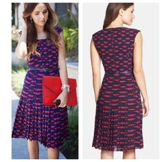 1 left•Halogen navy pleated dress• •Gorgeous navy pleated dress with lip prints (pink & red) throughout entire piece• pleated skirt detail• cap sleeves detail• scoop neckline  illuminates the face, while a slim belt accentuates the waist• Halogen Dresses Midi