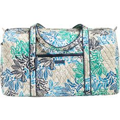 Vera Bradley Large Duffel 2.0 - Santiago - Travel Duffels ($85) ❤ liked on Polyvore featuring bags, luggage and blue