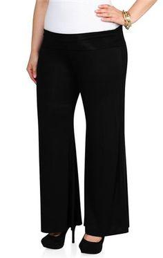 plus size black knit wide leg palazzo pants