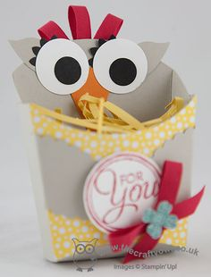 Check out this cool Owl Gift Fry Box made with Stampin' Up's Fry Box Bigz L Die! Joanne James Stampin' Up! UK Independent Demonstrator, blog.thecraftyowl.co.uk