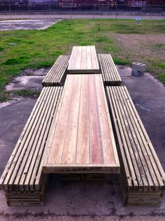 Our Rowan outdoor table and benches are modern with clean lines. These sturdy handmade pieces will make your deck, garden, or patio the perfect place for parties, barbeques, and fun.  This table is 36 wide by 96 long & 30 high. The benches are 18 wide by 96 long & 18 high.  The tables and benches are made out of PT Yellow Pine.  Please contact us for special dimensions or if youd like a different finish than just natural.  Thanks,  d+p  design copyrighted in 2013