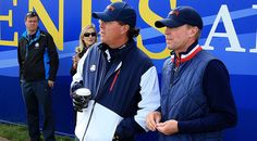 Phil Mickelson (l) and vice captain Steve Stricker watch the action unfold during afternoon Foursomes. (David Cannon/Getty Imgaes)   Bae like fuck this where my coffee y'all